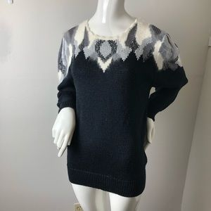 Vintage angora blend 80's sweater Puff sleeves